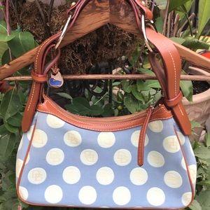 Dooney & Bourke medium hobo bag in blue/cream logo